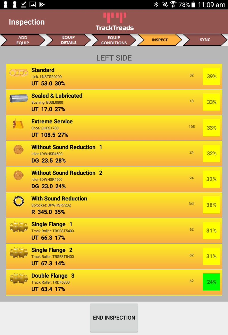 Mobile App displaying histroical inspection data